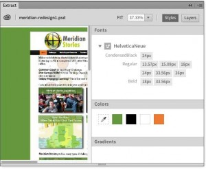 Dreamweaver extract shows page details