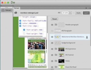 Dreamweaver extract shows layer details